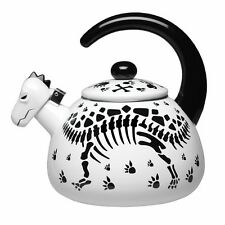 Dinosaur Skeleton Black and White Enamel Tea Kettle - 2 Qt.