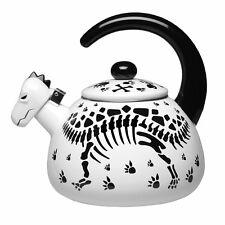 Dinosaur Skeleton Black and White Enamel Tea Kettle - 2 Qt.