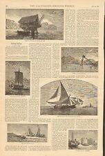 Foreign Fishing, China, Norway, Fiji, Japan, 2pg Vintage, 1884 Antique Art Print