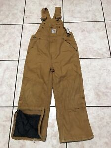 Carharttcanvas Insulated Double Knee Gold Overalls Size 5 Boys