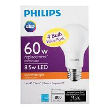 Philips 60W Equivalent Soft White 2700K A19 LED Light Bulb 4-Pack