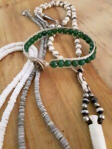 Green garnet bracelet with hemp rope