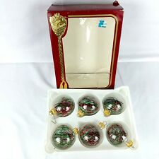Victoria Collection Tinsel Glass Ball Christmas Ornament 6 Pc Red Green Vintage