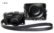Black Leather Camera Case Bag For Panasonic Lumix DMC-LX7 LX5 Leica D-LUX6 LUX5