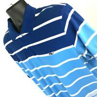 Vineyard Vines Men's L Blue Stripe 100% Pima Cotton Short Sleeve Golf Polo Shirt