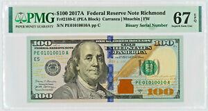 2017 A $100 FEDERAL RESERVE NOTE RICHMOND FR.2189-E BINARY SERIAL PMG GEM 67 EPQ