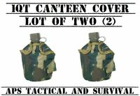 NEW 2 Pack Tactical Military 1qt Canteen COVER w Alice Clips Pouch WOODLAND CAMO