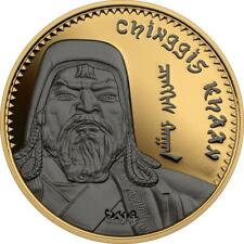 Mongolia 2014 1000 Togrog Chinggis Khaan Gilded 1 Oz Proof Ruthenium Silver Coin