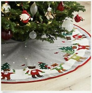 "NEW Crate & Barrel Skating Holiday Bears 52"" Christmas Tree Skirt"