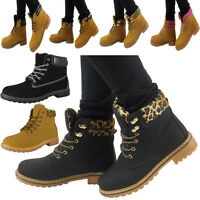 WOMENS LADIES WORKER ANKLE FLAT LACE UP MILITARY ARMY COMBAT SHOES BOOTS SIZE