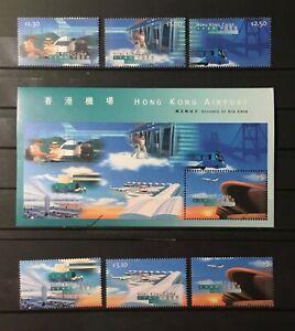 HONG KONG # 816-821 & 821a. SOUVENIR SHEET & SET. NEW HONG KONG AIRPORT. MNH