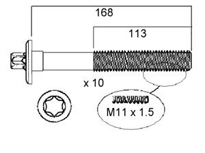 FAI HEAD BOLTS KIT FOR XU7JP2 1.8L Citroen Xsara 3/97-2000,  Peugeot 306 3/97-99
