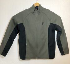 Spyder Mens Cable Knit Zip Up Dark Green And Black Fleece Size Large. Great Cond