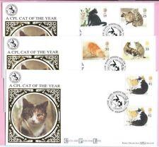1995 BENHAM BLCS101 Set of 3 FDC's - CATS - GUTTER PAIRS - Shs HOLLYWOOD, B'ham