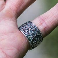 Mens Viking Stainless Steel Ring Mjolnir Thor Hammer Nordic Rings Amulet Jewelry