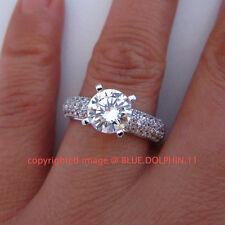 100% Genuine Real 9K White Gold Engagement Wedding Ring 3.55ct Simulated Diamond