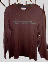 "Mens Sz XXL 2X MOUNTAIN WAREHOUSE Brown L/S  ""A day on a hill"" Ski Skiing Shirt"