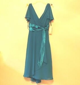 evan-picone womens dress size 8P blue wrap front lined New With Tags