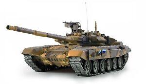 RC Panzer T-90 Rauch & Sound 1:16, Metallgetriebe, Metallketten 2,4GH Holzkiste