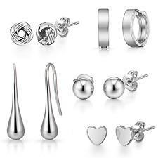 5 Pairs of White Gold Plated Earrings in Gift Pouch