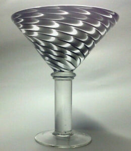 Vintage over sized extra large black & white art glass martini glass/sml compote