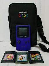 Gameboy Color Purple console With Case + 3 Games Frogger, Pacman, Dogz, TESTED