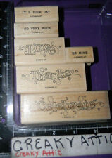 STAMPIN UP OUTLINED OCCASIONS 6 RUBBER STAMPS CELEBRATE LOVE THANKS BE MINE VERY