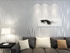 33ft Plant Silver Home Bedroom Luxury 3D Wave Flocking Wallpaper Rolls UK STOCK