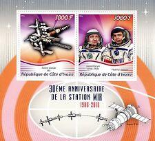 Ivory Coast 2016 MNH Space Station Mir 30th Anniv Kizim Solovyov 1v S/S Stamps