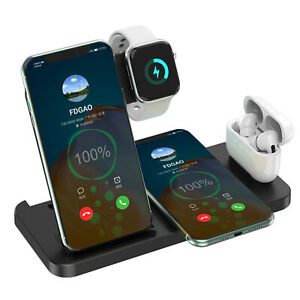 4In1 15W Qi Wireless Charger Dock Pad Stand For iWatch 5/4/3/2/1 iPhone 11 XS XR