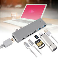 7 in 1 Type C USB C Hub Adapter 3.0 ports Card Reader 4K HDMI For MacBook Pro US