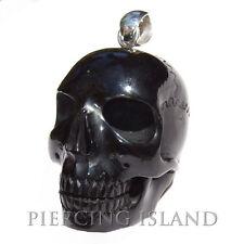 6cm XL Skull Totenkopf Amulett Anhänger Echt Buffalo Horn mit Silber PB191
