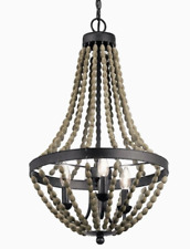 Kichler Coltyn 3-Light Anvil Iron and Distressed Antique Grey Beaded Chandelier