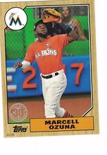 "2017 Topps Update '87 Style 5""x7"" #/49 Marcell Ozuna Miami Marlins OVERSIZED"