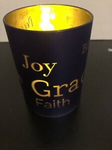 Joy, Peace, Blessings, Grace, Faith Blue Battery Operated Candle