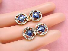 ART DECO ROSE DIAMOND 6ctw SYNTHETIC BLUE SAPPHIRE DOUBLE CUFFLINKS 1930 FRENCH