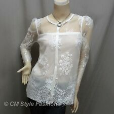 CM Style Sexy Sheer Shoulder Lace Floral Blouse Top White S