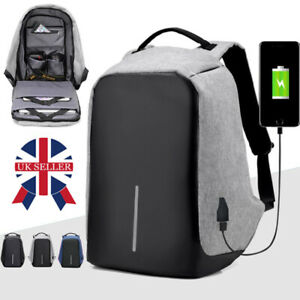 Unisex Anti-Theft Backpack Laptop Travel Large School Bag With USB Charging Port