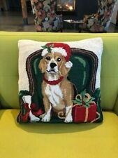 Christmas Beagle Dog with Santa Hat Pillow w/ Tag