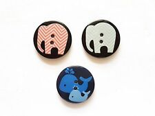 12 pcs Cute Retro big button Elephant And Whales cartoon Printed Buttons 30mm