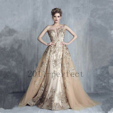 Luxury Gorgeous Evening Dresses Detachable Train Sweetheart Formal Prom Gowns