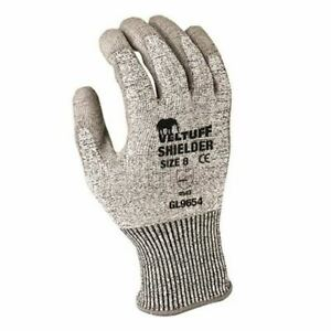 PU coated grey work gloves Cut Level 5 small handling building construction shi