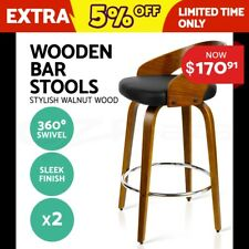 2x Wooden Bar Stools Swivel Barstool Kitchen Dining Chairs Wood Black 8565