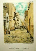 1889.Litografia a Colori.Imbrecciata S.FRANCESCO-NAPOLI ANTICA-D'AMBRA/CARDONE..