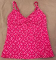 Lands End 8 Tankini Swimsuit Top Pink Medallion Underwire