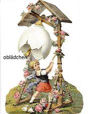 # GLANZBILDER # EF 5178 AUFSTELL-Karte Mädchen läutet Osterei. Nostalgie Pur