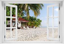 3D WANDBILD FOTOTAPETE FENSTERBLICK Meer Strand Natur Palmen Tropical - p-m-0212