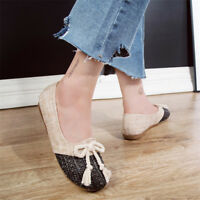Women's Casual Espadrilles Cloth Round Toe Loafers Flat Shoes Slip On Pumps Size