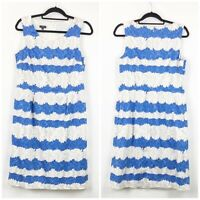 Talbots 10 Womens Blue White Striped Floral Sleeveless A-line Midi Dress