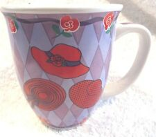 """Red Hat Society Coffee Tea Mug With Red Hats & Purple Ribbons 3.75""""W x 4.25""""H"""